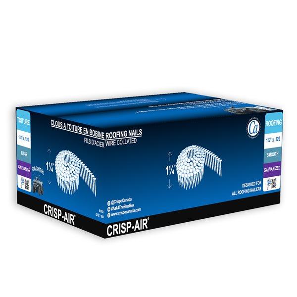 Clous à toiture en bande en acier électro-galvanisé de 1 1/4 po, calibre 120 et 15 degrés par Crisp-Air, pqt de 7200