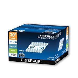 Clous de charpente en bande en acier brillant de 3 1/4 po et calibre de 0,120 par Crisp-Air, pqt de 1000