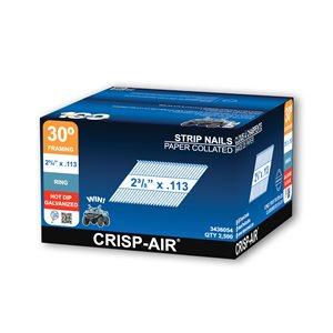 Clous de charpente en bande en acier galvanisé à chaud de 2 3/8 po et calibre 0,113 par Crisp-Air, pqt de 2500