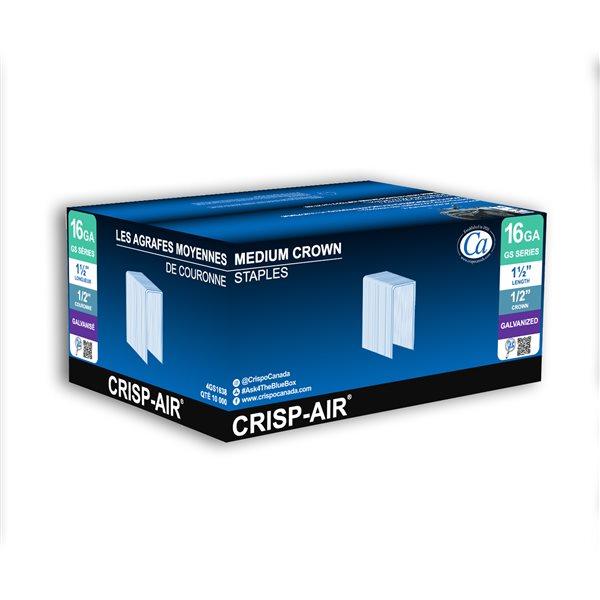 Agrafes de finition en bande de 1 1/2 po x 1/2 po x 1/2 po à couronne moyenne et calibre de 16 par Crisp-Air, pqt de 10 000