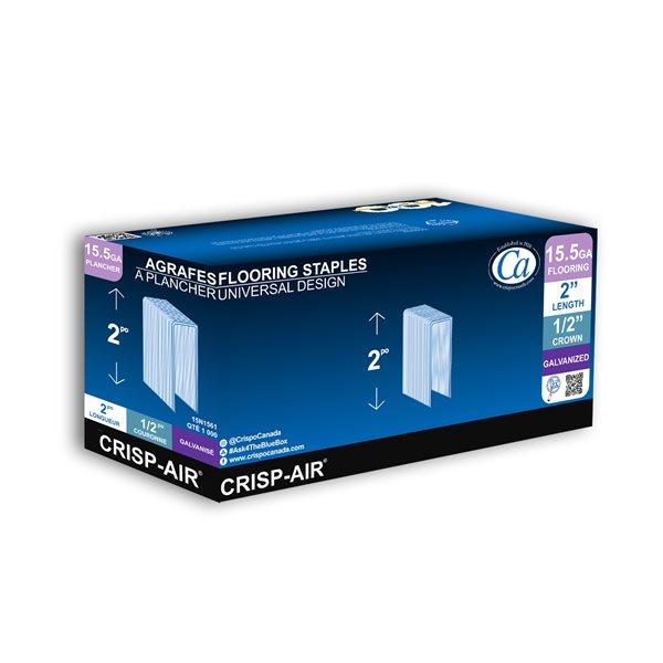 Agrafes de parquet en bande de 2 po x 1/2 po x 1/2 po à couronne étroite et calibre 15,5 par Crisp-Air, pqt de 1000