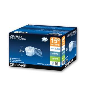 Clous de charpente en bande en acier brillant de 2 1/4 po et calibre de 0,099 15° par Crisp-Air, pqt de 7200