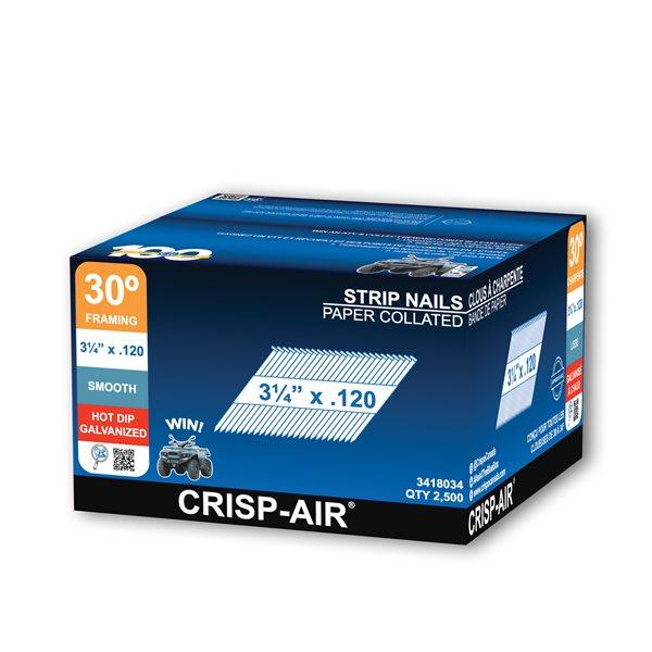 Clous de charpente en bande en acier galvanisé à chaud de 3 1/4 po et calibre de 0,120 par Crisp-Air, pqt de 2500