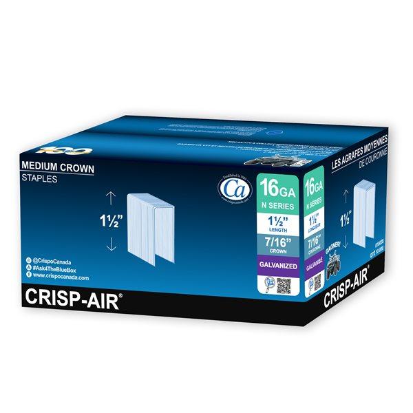 Agrafes de finition en bande de 1 1/2 po x 7/16 po x 7/16 po à couronne moyenne et calibre 16 par Crisp-Air, pqt de 10 000