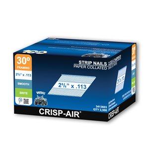 Clous de charpente en bande en acier brillant de 2 3/8 po et calibre 0,113 par Crisp-Air, pqt de 2500