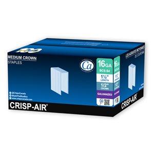 Agrafes de finition en bande de 1 1/2 po x 1/2 po x 1/2 po à couronne moyenne et calibre 16 par Crisp-Air, pqt de 10 000