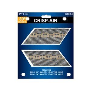 Clous de charpente en bande en acier galvanisé à chaud de 3 1/4 po et calibre 0,113 par Crisp-Air, pqt de 1000