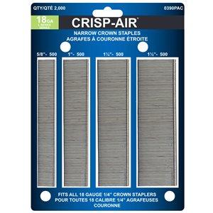 Agrafes de finition en bande de 1 1/2 po x 1/4 po x 1/4 po à couronne étroite et calibre 18 par Crisp-Air, pqt de 2000