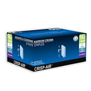 Agrafes de finition en bande de 1 po x 1/4 po x 1/4 po à couronne étroite et calibre 18 par Crisp-Air, pqt de 5000