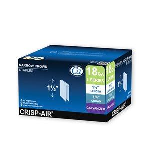 Agrafes de finition en bande de 1 1/2 po x 1/4 po x 1/4 po à couronne étroite et calibre 18 par Crisp-Air, pqt de 5000