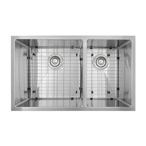 Évier sous-plan double décalée en Acier inoxydable 19-in x 32-in de Presenza