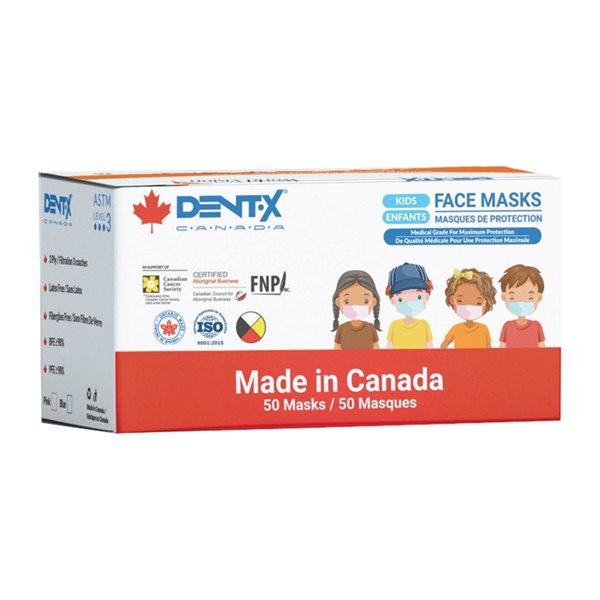 Masque chirurgical à usage unique pour enfants de Dent-X, paquet de 50