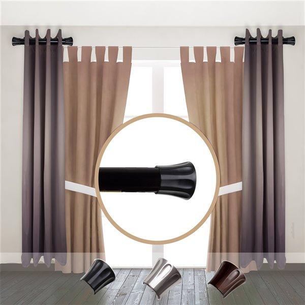 Tringle à rideaux simple en métal noir de Rod Desyne, 11 po à 20 po