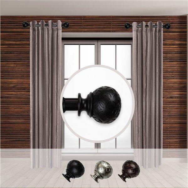 Tringle à rideaux simple en métal noir Odelia de Rod Desyne, 11 po à 20 po