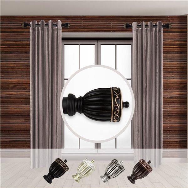 Tringle à rideaux simple en métal noir Debussy de Rod Desyne, 11 po à 20 po
