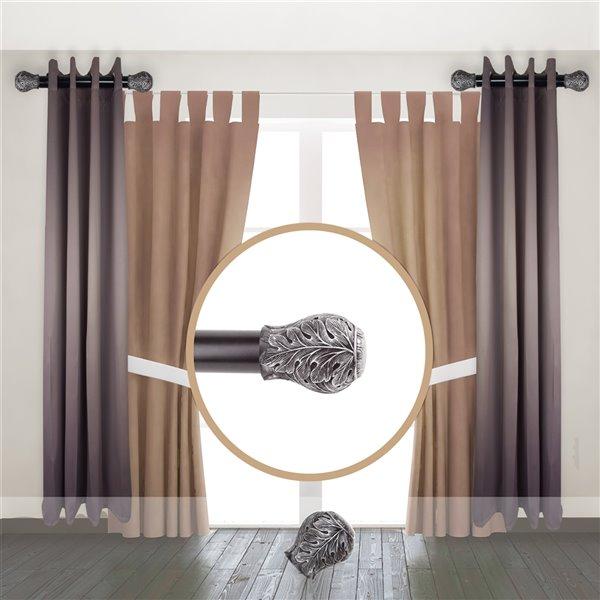 Tringle à rideaux simple en métal noir Leaf de Rod Desyne, 11 po à 20 po