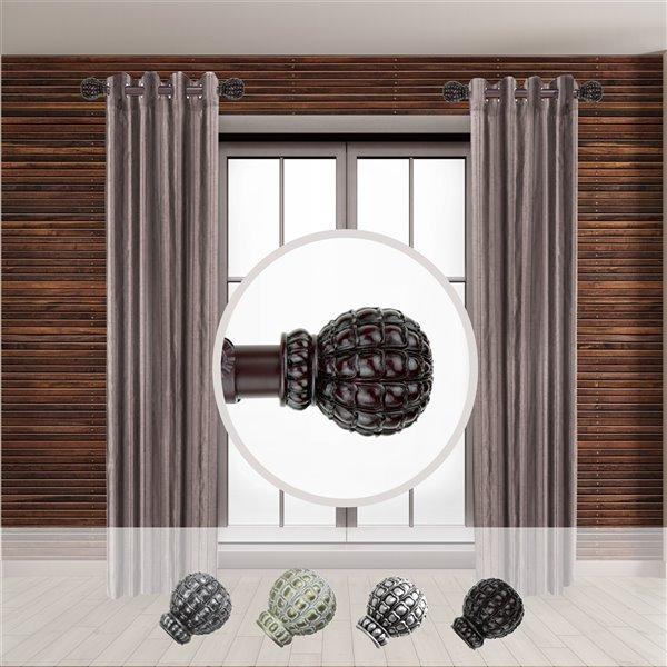 Tringle à rideaux simple en acier acajou de 11 à 20 po Pod de Rod Desyne