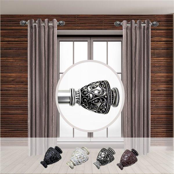 Tringle à rideaux simple en acier nickel satiné de 11 à 20 po Veda de Rod Desyne