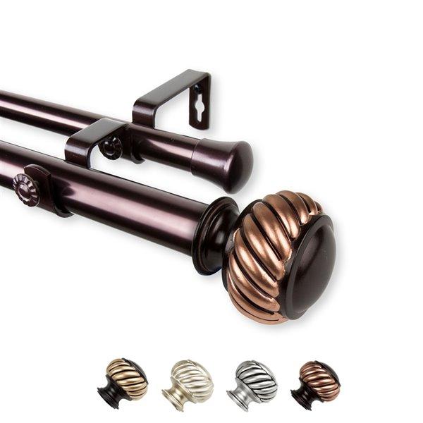 Tringle à rideaux double Baldir en acier de 160 po à 240 po par Rod Desyne, bronze
