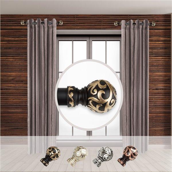 Tringle à rideaux simple en métal noir Cypress de Rod Desyne, 11 po à 20 po