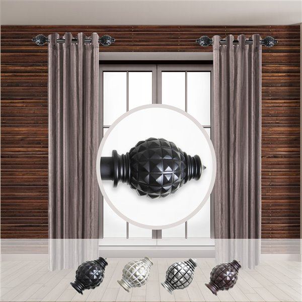 Tringle à rideaux simple en métal noir Opal de Rod Desyne, 11 po à 20 po
