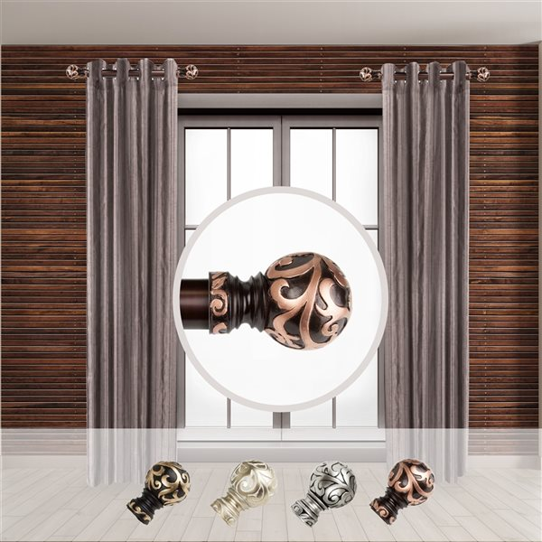 Tringle à rideaux simple en métal bronze Cypress de Rod Desyne, 11 po à 20 po