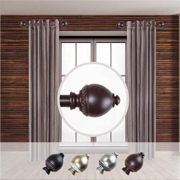 Tringle à rideaux simple en acier acajou de 11 à 20 po Ramona de Rod Desyne