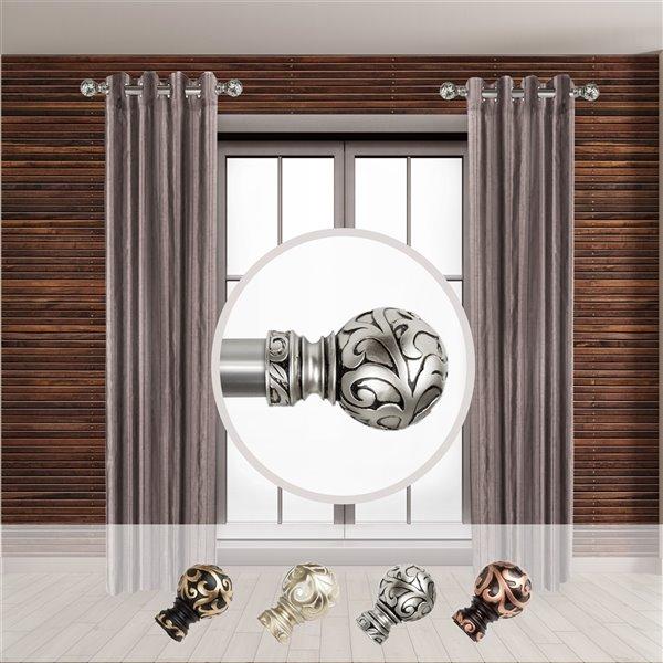 Tringle à rideaux simple en métal nickel satiné Cypress de Rod Desyne, 11 po à 20 po