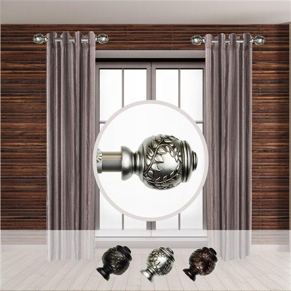 Tringle à rideaux simple en acier nickel satiné de 11 à 20 po Colette de Rod Desyne