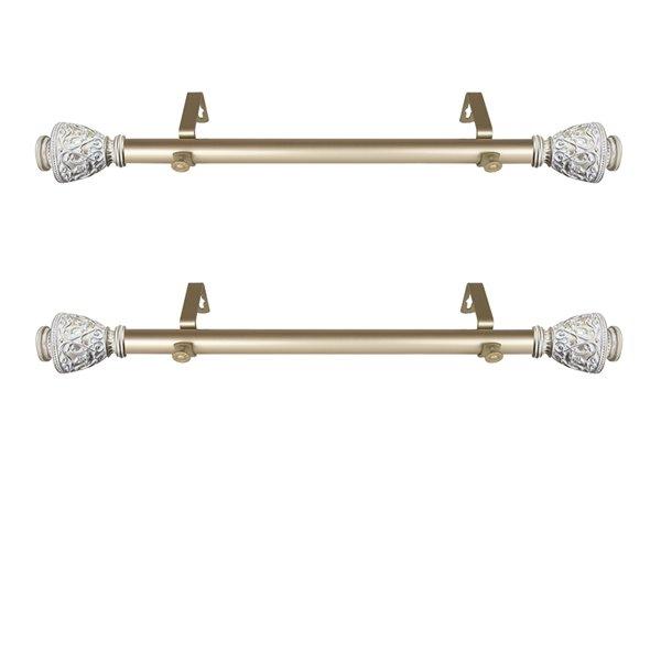 Tringle à rideaux simple en acier or de 11 à 20 po Veda de Rod Desyne