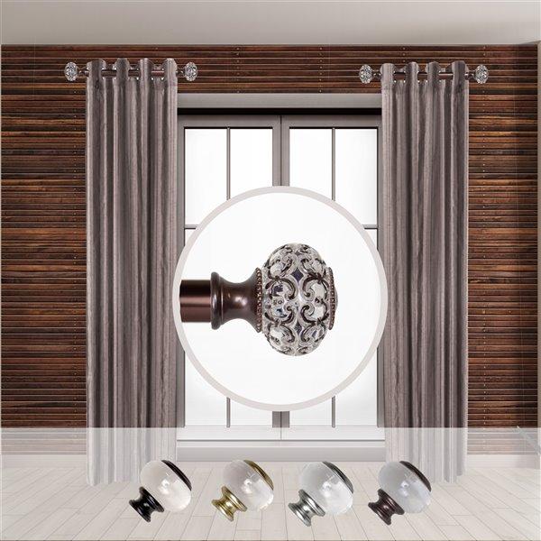 Tringle à rideaux simple en métal bronze Elsie de Rod Desyne, 11 po à 20 po