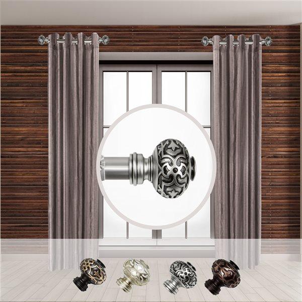 Tringle à rideaux simple en métal nickel satiné Maple de Rod Desyne, 11 po à 20 po