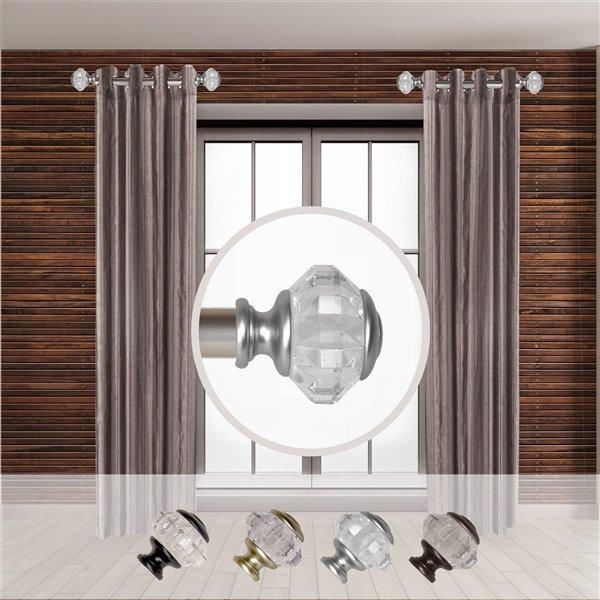 Tringle à rideaux simple en métal nickel satiné Inez de Rod Desyne, 11 po à 20 po