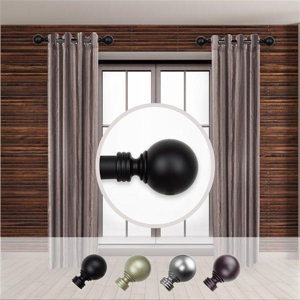Tringle à rideaux simple en acier noir de 11 à 20 po Globe de Rod Desyne