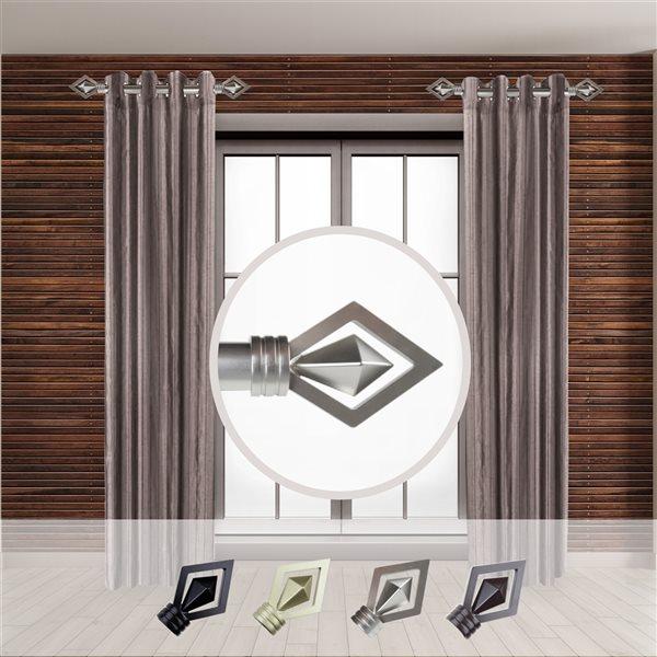 Tringle à rideaux simple en métal nickel satiné Lenore de Rod Desyne, 11 po à 20 po
