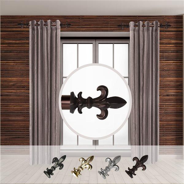 Tringle à rideaux simple en métal bronze Fernando de Rod Desyne, 11 po à 20 po