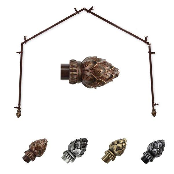 Tringle à rideaux pour baie vitrée Bud en acier, cacao, 28 po à 48 po de Rod Desyne