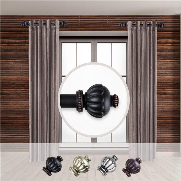 Tringle à rideaux simple en acier noir de 11 à 20 po Selma de Rod Desyne