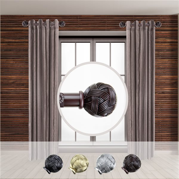 Tringle à rideaux simple en acier acajou de 11 à 20 po Twine de Rod Desyne