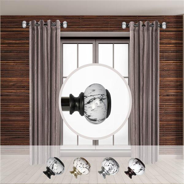 Tringle à rideaux simple en métal noir Kelly de Rod Desyne, 11 po à 20 po