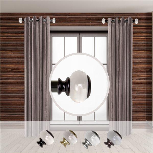 Tringle à rideaux simple en métal noir Ironwood de Rod Desyne, 11 po à 20 po