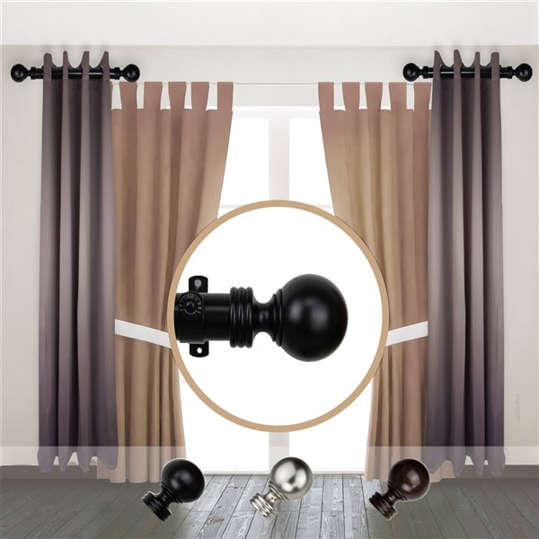 Tringle à rideaux simple en métal noir Sphere de Rod Desyne, 11 po à 20 po