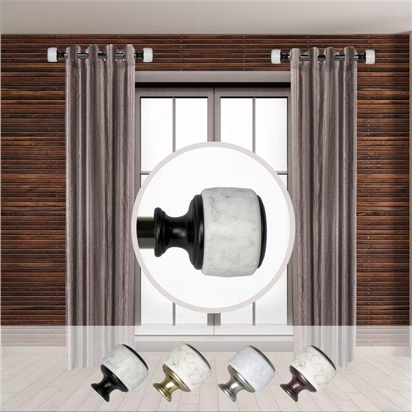 Tringle à rideaux simple en métal noir Morton de Rod Desyne, 11 po à 20 po