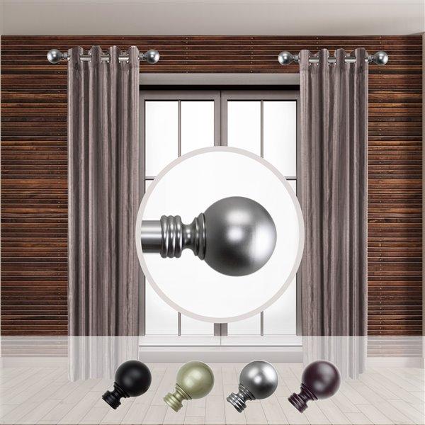 Tringle à rideaux simple en acier nickel satiné de 11 à 20 po Globe de Rod Desyne