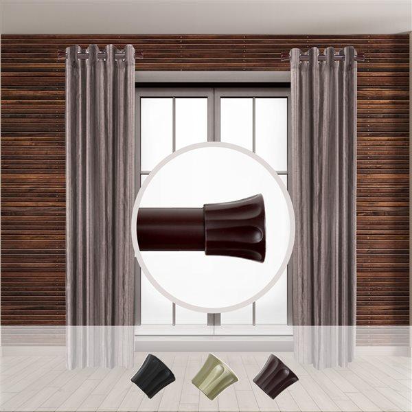 Tringle à rideaux simple en acier acajou de 11 à 20 po de Rod Desyne