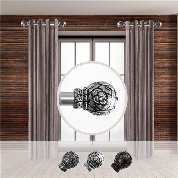 Tringle à rideaux simple en acier nickel satiné de 11 à 20 po Rosy de Rod Desyne