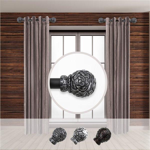 Tringle à rideaux simple en acier noir de 11 à 20 po Rosy de Rod Desyne
