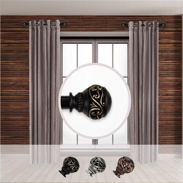 Tringle à rideaux simple en acier noir de 11 à 20 po Isabella de Rod Desyne