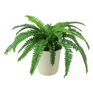 Northlight 20-in Green and White Boston Fern Artificial Potted Plant