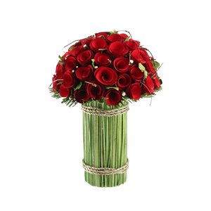 Northlight 11.5-in Red Wooden Rose and Grass Artificial Floral